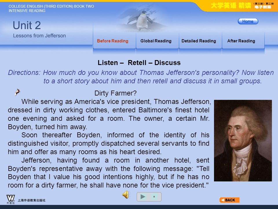 Before Reading_3.15 A Brief Introduction to Thomas Jefferson Before ReadingGlobal ReadingDetailed ReadingAfter Reading Thomas Jefferson (1743-1826) is best remembered as a great President and as the author of the Declaration of Independence.