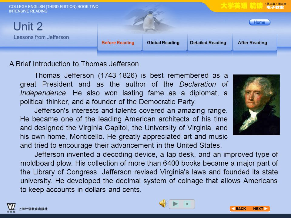 Before Reading_3.15 Before ReadingGlobal ReadingDetailed ReadingAfter Reading Jefferson did not consider himself a professional politician.