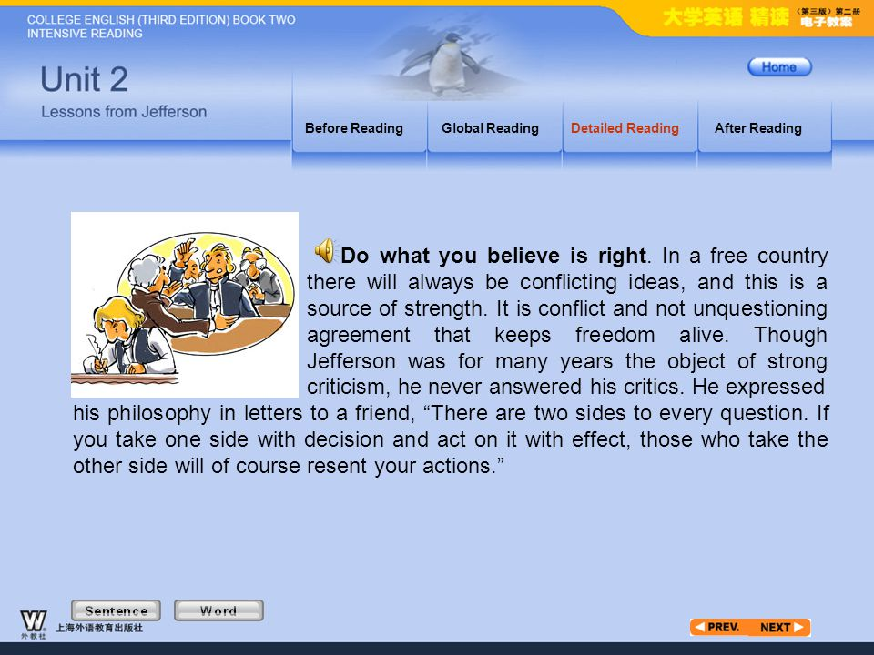 Article4_W Before ReadingGlobal ReadingDetailed ReadingAfter Reading Do what you believe is right.