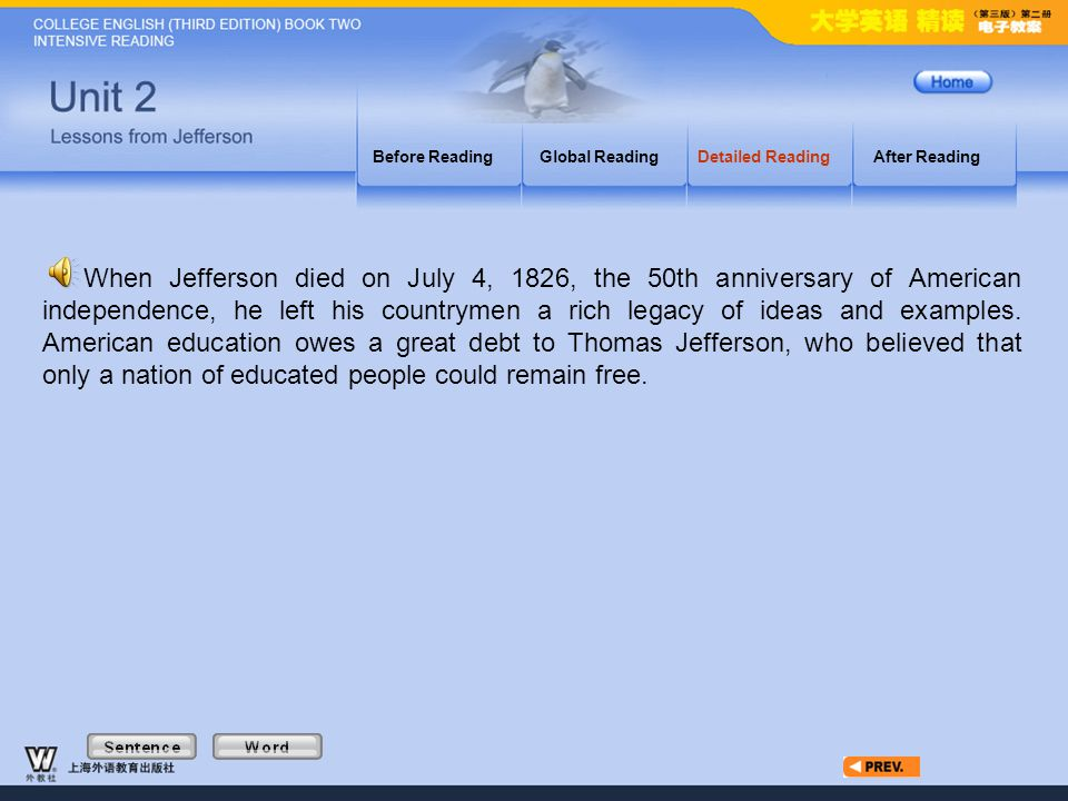 Article7_W Before ReadingGlobal ReadingDetailed ReadingAfter Reading When Jefferson died on July 4, 1826, the 50th anniversary of American independence, he left his countrymen a rich legacy of ideas and examples.
