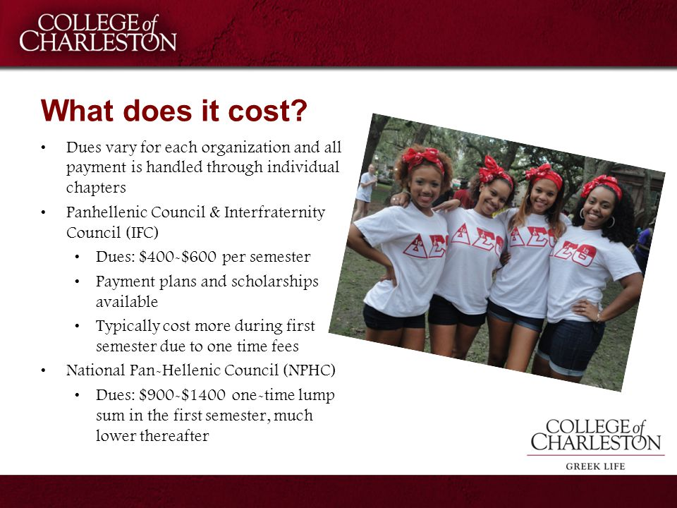 What does it cost? Dues vary for each organization and all payment is handled through individual chapters Panhellenic Council & Interfraternity Counci