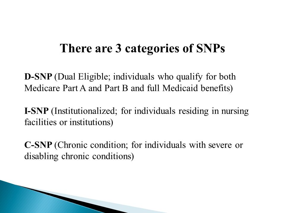 There are 3 categories of SNPs D-SNP (Dual Eligible; individuals who qualify for both Medicare Part A and Part B and full Medicaid benefits) I-SNP (Institutionalized; for individuals residing in nursing facilities or institutions) C-SNP (Chronic condition; for individuals with severe or disabling chronic conditions)