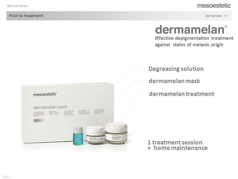 MENU Degreasing solution 1 treatment session + home maintenance Effective depigmentation treatment against stains of melanic origin dermamelan mask dermamelan treatment dermamelan Prior to treatment