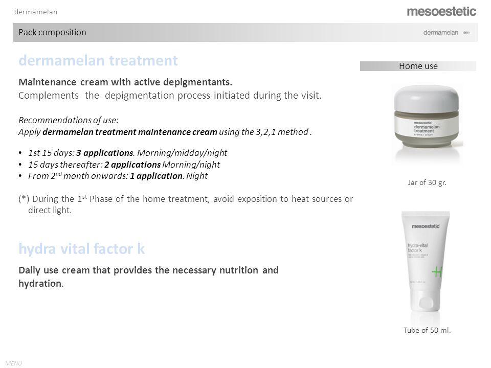 MENU dermamelan treatment Jar of 30 gr.Maintenance cream with active depigmentants.