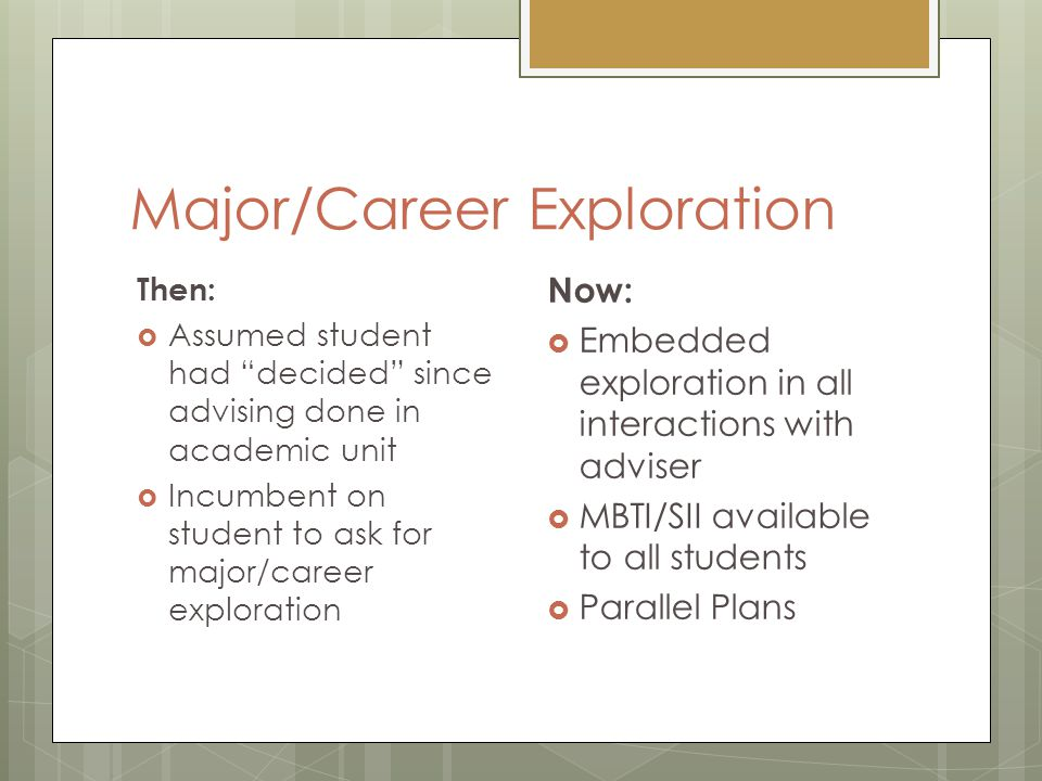 Major/Career Exploration Then:  Assumed student had decided since advising done in academic unit  Incumbent on student to ask for major/career exploration Now:  Embedded exploration in all interactions with adviser  MBTI/SII available to all students  Parallel Plans