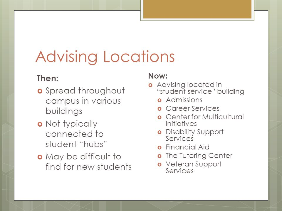 Advising Locations Then:  Spread throughout campus in various buildings  Not typically connected to student hubs  May be difficult to find for new students Now:  Advising located in student service building  Admissions  Career Services  Center for Multicultural Initiatives  Disability Support Services  Financial Aid  The Tutoring Center  Veteran Support Services