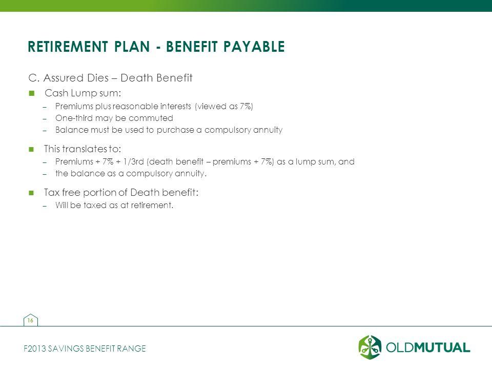 F2013 SAVINGS BENEFIT RANGE RETIREMENT PLAN - BENEFIT PAYABLE C.