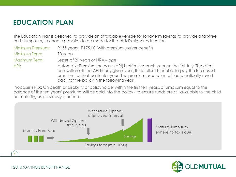 F2013 SAVINGS BENEFIT RANGE EDUCATION PLAN Savings Withdrawal Option - first 5 years Withdrawal Option - after 5-year interval Savings term (min.