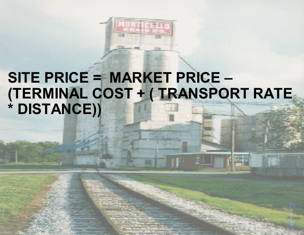 SITE PRICE = MARKET PRICE – (TERMINAL COST + ( TRANSPORT RATE * DISTANCE))