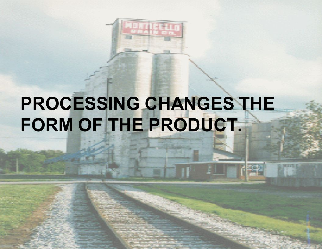 PROCESSING CHANGES THE FORM OF THE PRODUCT.