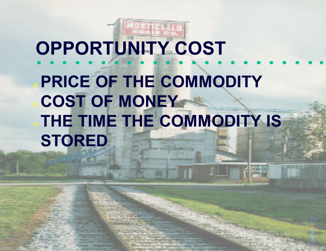 OPPORTUNITY COST PRICE OF THE COMMODITY COST OF MONEY THE TIME THE COMMODITY IS STORED