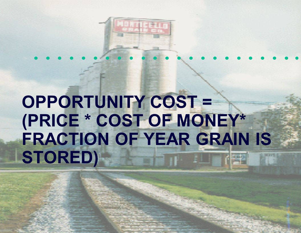 OPPORTUNITY COST = (PRICE * COST OF MONEY* FRACTION OF YEAR GRAIN IS STORED)
