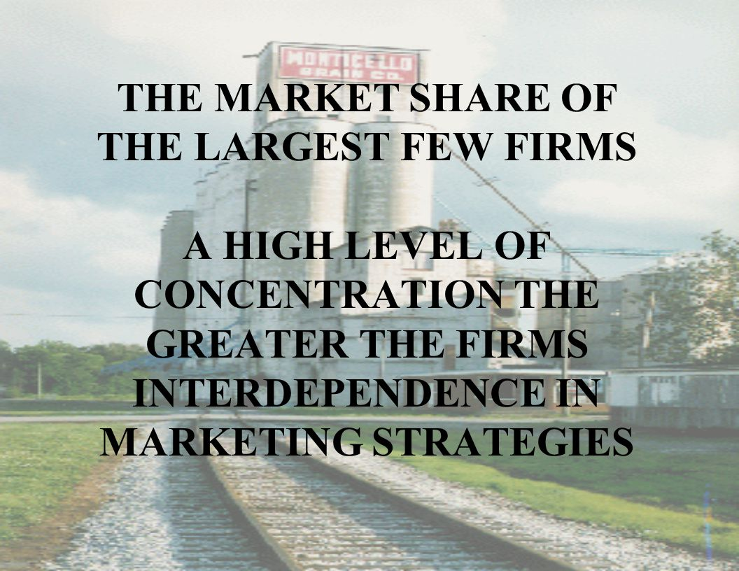 THE MARKET SHARE OF THE LARGEST FEW FIRMS A HIGH LEVEL OF CONCENTRATION THE GREATER THE FIRMS INTERDEPENDENCE IN MARKETING STRATEGIES