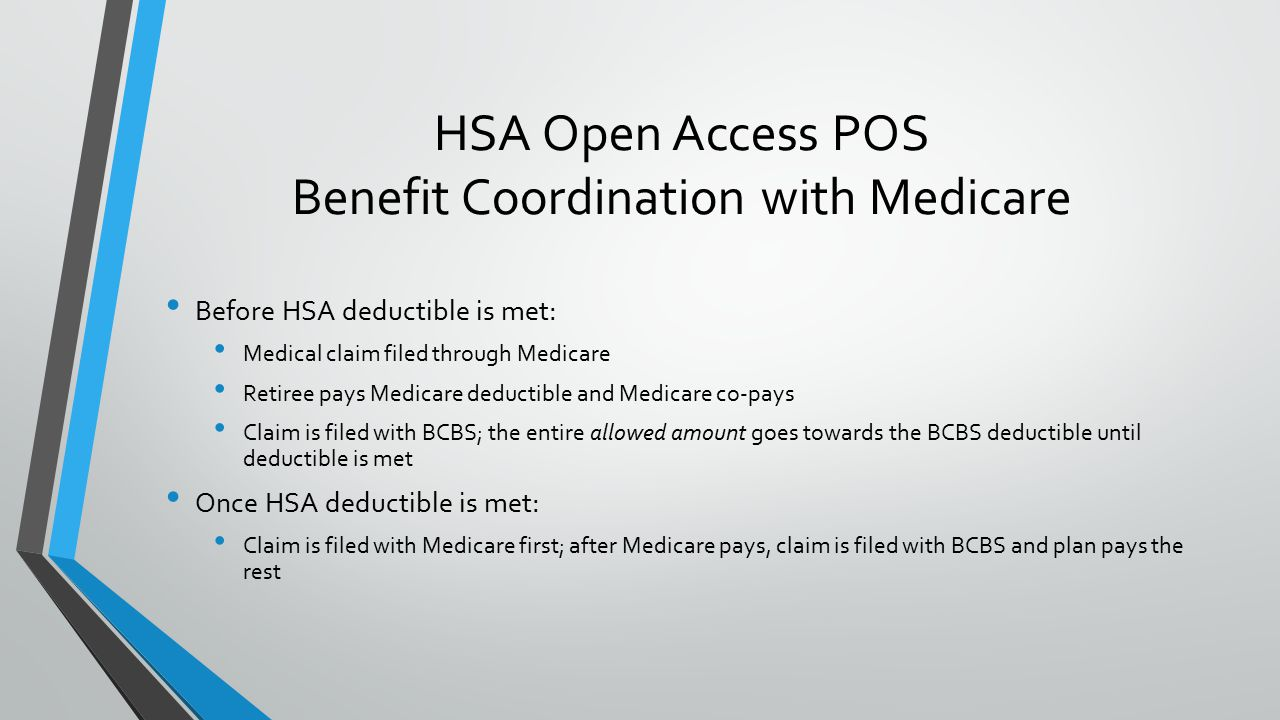 HSA Open Access POS Benefit Coordination with Medicare Before HSA deductible is met: Medical claim filed through Medicare Retiree pays Medicare deductible and Medicare co-pays Claim is filed with BCBS; the entire allowed amount goes towards the BCBS deductible until deductible is met Once HSA deductible is met: Claim is filed with Medicare first; after Medicare pays, claim is filed with BCBS and plan pays the rest