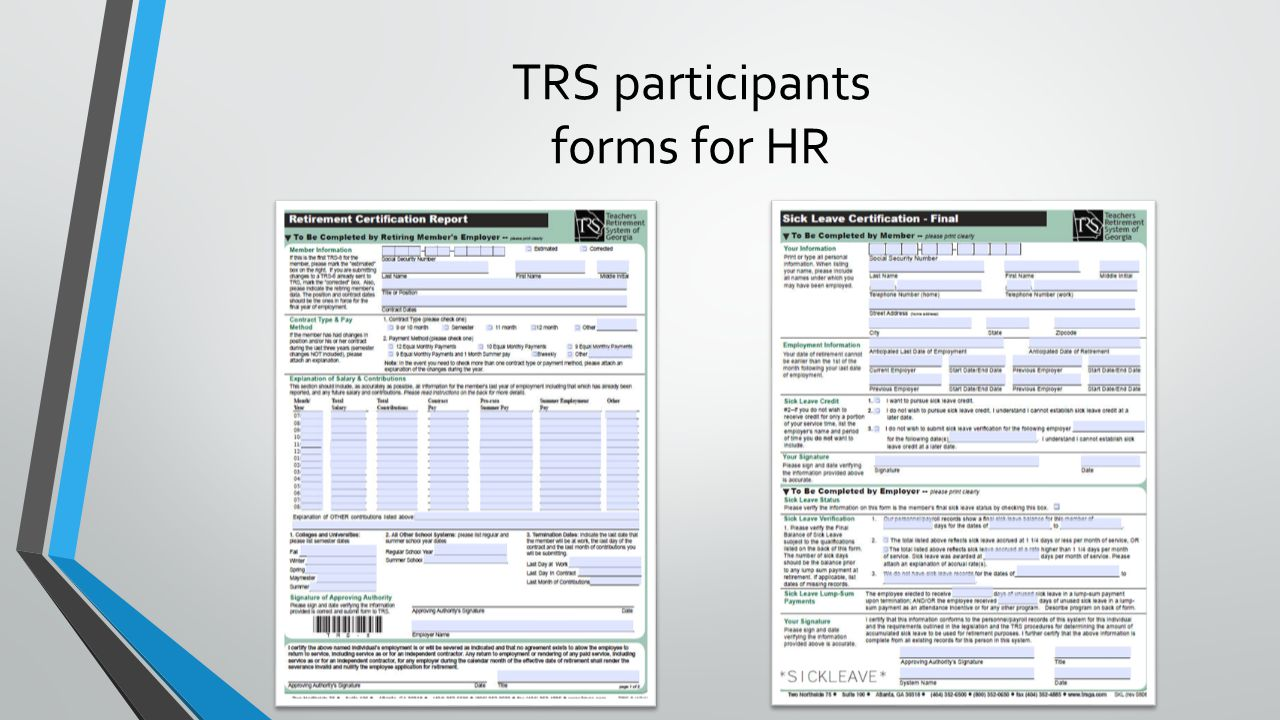 TRS participants forms for HR