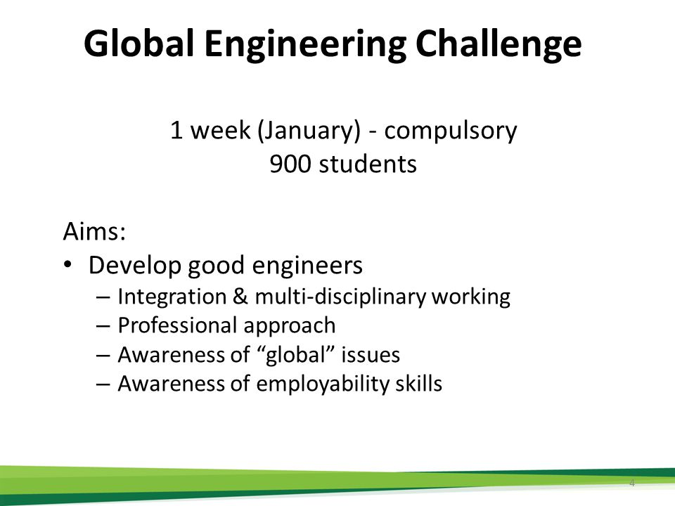 Obstacles Space – 900 students – project space & IT requirements – Timetable - removal of the January Exams (where possible) A vehicle for the skills development – EWB Challenge project Not onerous for staff – Use post graduates as facilitators – Not credit bearing Support (financial and other) – 10k for setup – 30k for running costs Co-ordination and agreement – Steering group from all departments 5 Inspire the students.