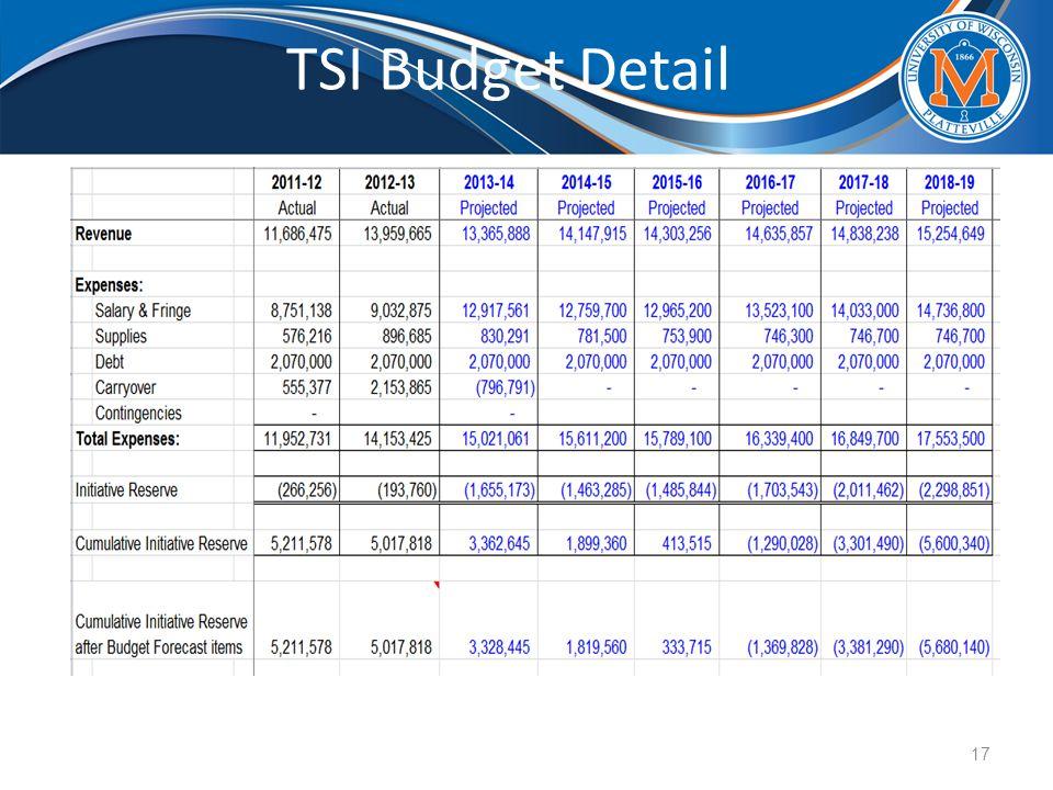 TSI Budget Detail 17