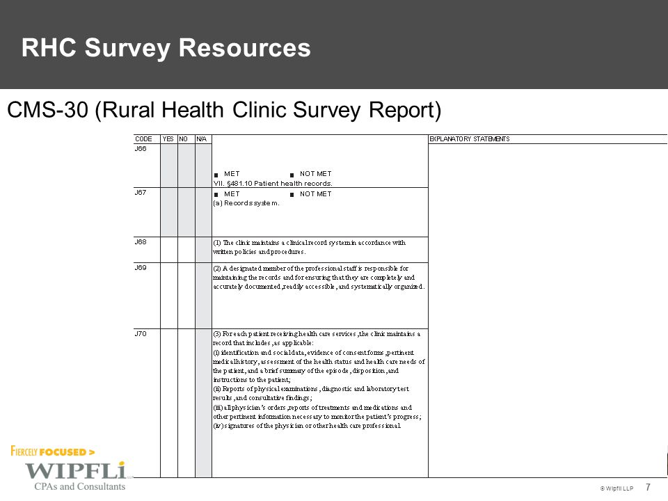 © Wipfli LLP 7 CMS-30 (Rural Health Clinic Survey Report) RHC Survey Resources