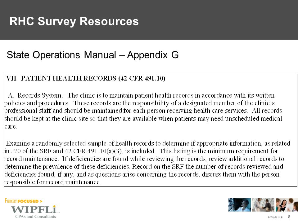 © Wipfli LLP 8 State Operations Manual – Appendix G RHC Survey Resources