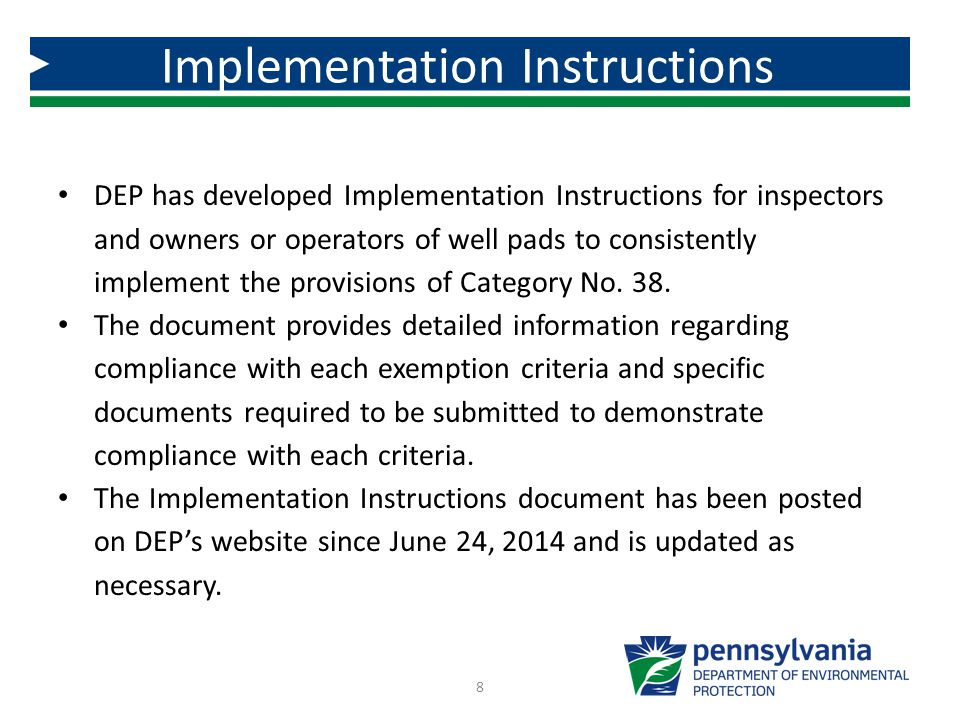 Implementation Instructions for Exemption Category No.