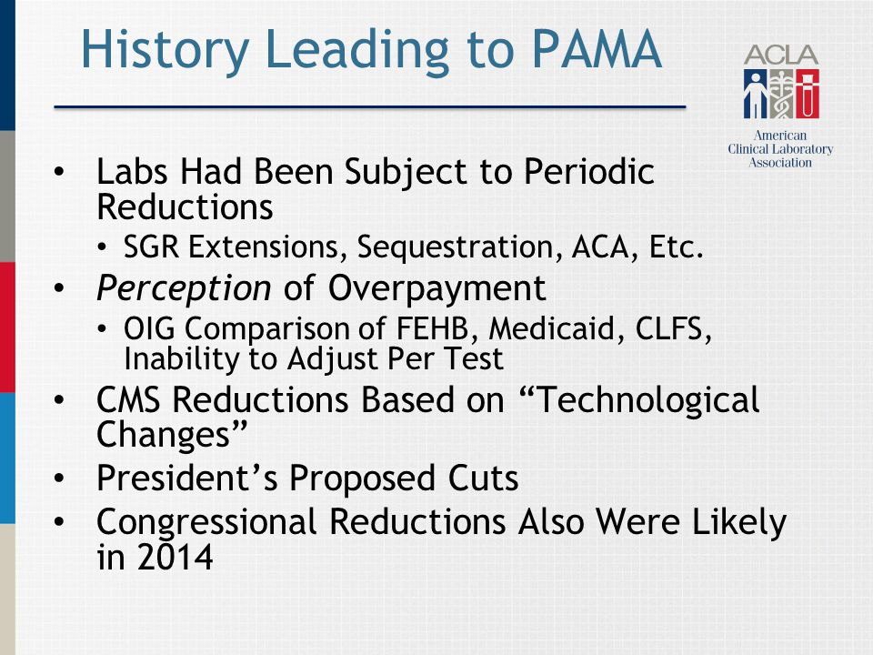 History Leading to PAMA Labs Had Been Subject to Periodic Reductions SGR Extensions, Sequestration, ACA, Etc.