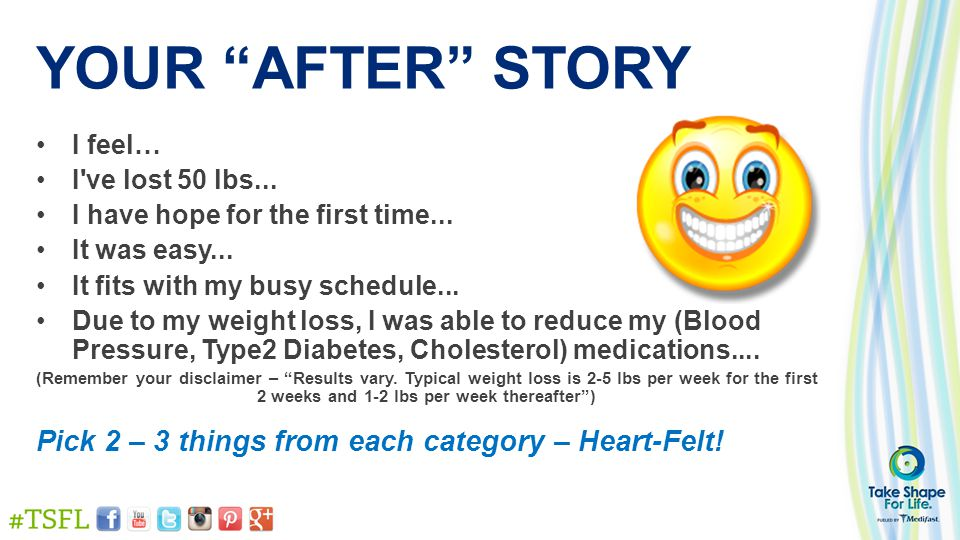 YOUR AFTER STORY I feel… I ve lost 50 lbs... I have hope for the first time...