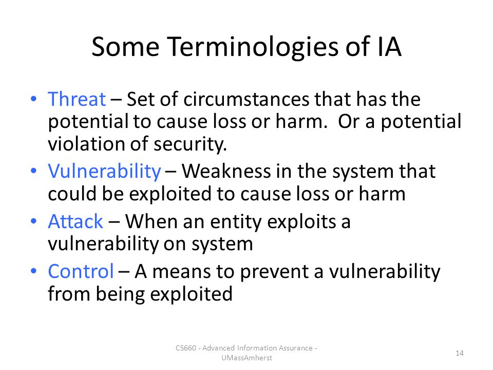 Some Terminologies of IA Threat – Set of circumstances that has the potential to cause loss or harm.