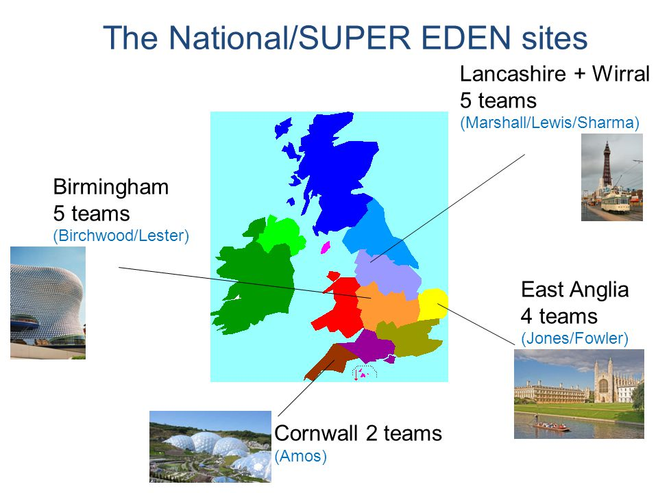 Birmingham 5 teams (Birchwood/Lester) Lancashire + Wirral 5 teams (Marshall/Lewis/Sharma) East Anglia 4 teams (Jones/Fowler) Cornwall 2 teams (Amos) The National/SUPER EDEN sites