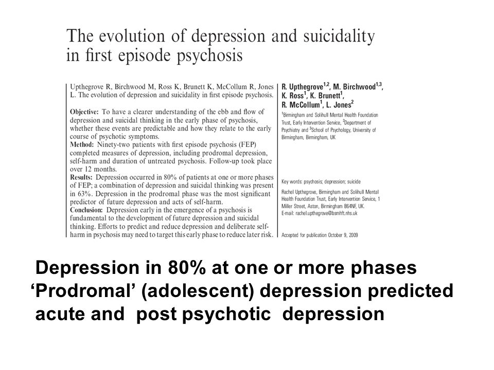 Depression in 80% at one or more phases 'Prodromal' (adolescent) depression predicted acute and post psychotic depression