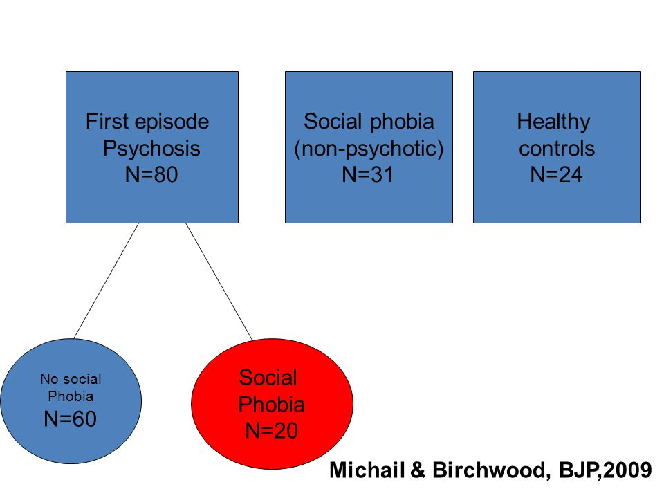 First episode Psychosis N=80 Social phobia (non-psychotic) N=31 No social Phobia N=60 Social Phobia N=20 Healthy controls N=24 Michail & Birchwood, BJP,2009