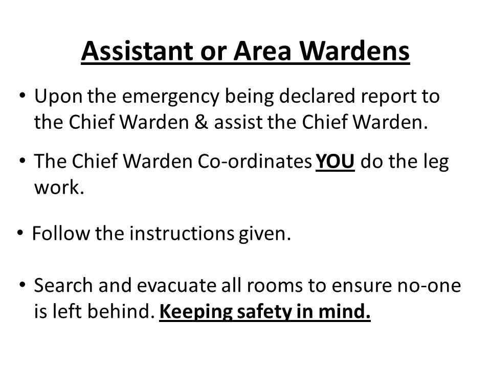 Assistant or Area Wardens Upon the emergency being declared report to the Chief Warden & assist the Chief Warden. Follow the instructions given. Searc