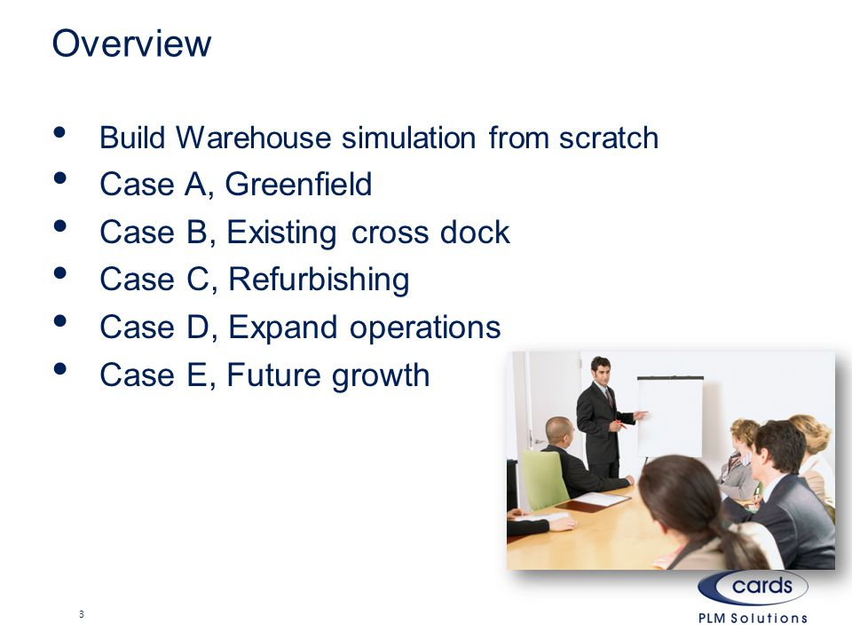 Overview Build Warehouse simulation from scratch Case A, Greenfield Case B, Existing cross dock Case C, Refurbishing Case D, Expand operations Case E, Future growth 3