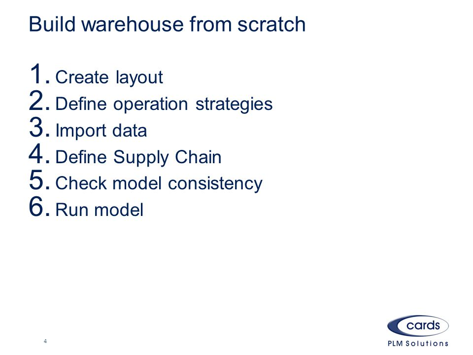 Build warehouse from scratch 1. Create layout 2. Define operation strategies 3.