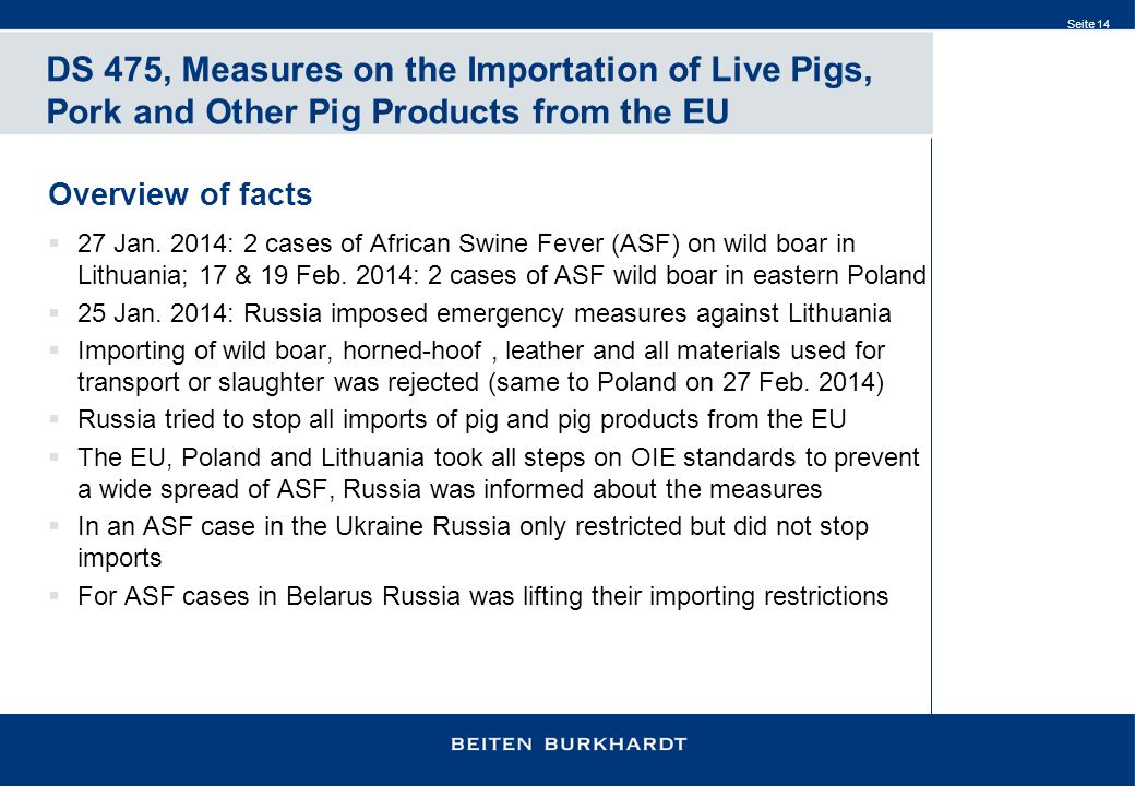 Seite 14 DS 475, Measures on the Importation of Live Pigs, Pork and Other Pig Products from the EU Overview of facts  27 Jan.