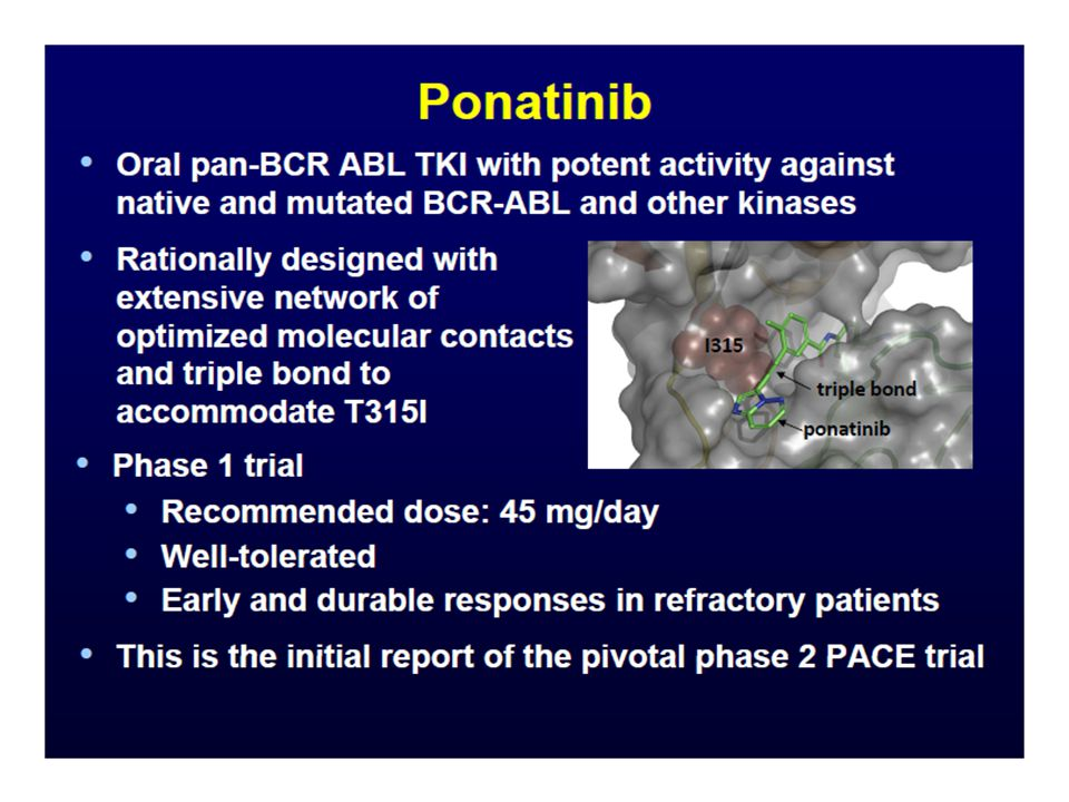 CML ASH Highlights: Summary (II) Timing and utility of Abl kinase mutation testing is clarified and incudes initial AP/BC disease, suboptimal and failure responses, and molecular relapse that leads to loss of MMR Multiple reports, including the large German CML IV study, point towards 3mo molecular response- 10% Bcr-Abl levels- as predictive for outcome Nilotinib as primary therapy for CP CML shows superior cytogenetic and molecular response and protection from progression in longer follow-up (3y) Bosutinib, although challenged by early GI toxicity, shows improvement in molecular response and cumulative cytogenetic response over imatinib at 2y