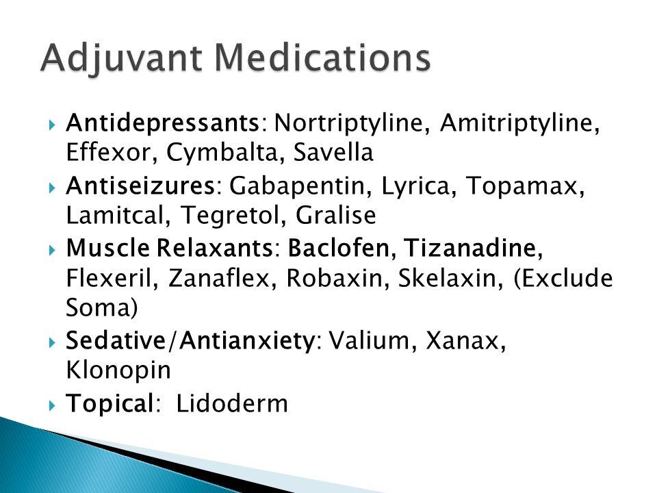  Antidepressants: Nortriptyline, Amitriptyline, Effexor, Cymbalta, Savella  Antiseizures: Gabapentin, Lyrica, Topamax, Lamitcal, Tegretol, Gralise 