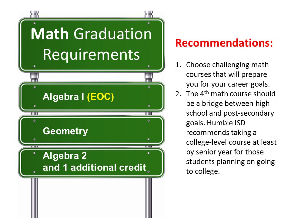 Recommendations: 1.Choose challenging math courses that will prepare you for your career goals.