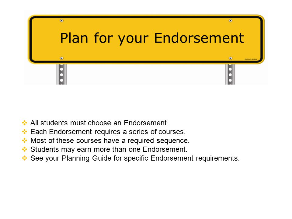 Plan for your Endorsement  All students must choose an Endorsement.
