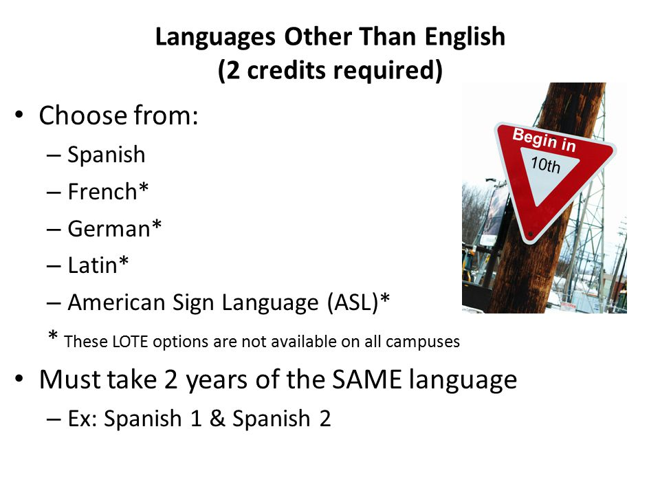 Languages Other Than English (2 credits required) Choose from: – Spanish – French* – German* – Latin* – American Sign Language (ASL)* * These LOTE options are not available on all campuses Must take 2 years of the SAME language – Ex: Spanish 1 & Spanish 2 Begin in 10th