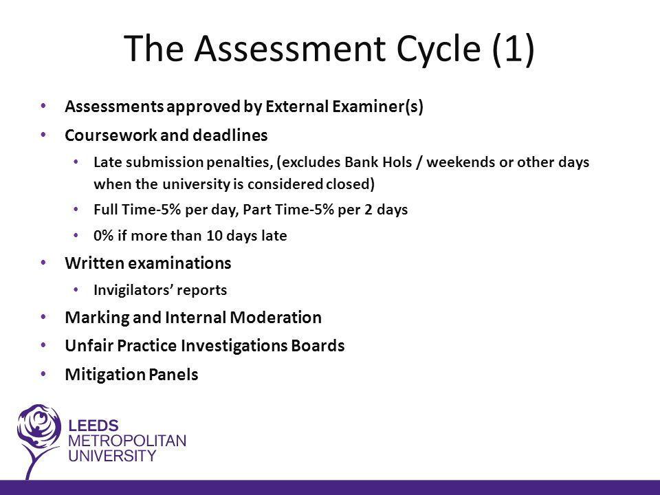The Assessment Cycle (1) Assessments approved by External Examiner(s) Coursework and deadlines Late submission penalties, (excludes Bank Hols / weekends or other days when the university is considered closed) Full Time-5% per day, Part Time-5% per 2 days 0% if more than 10 days late Written examinations Invigilators' reports Marking and Internal Moderation Unfair Practice Investigations Boards Mitigation Panels