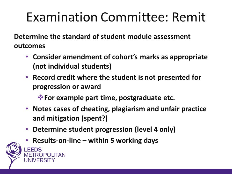 Examination Committee: Remit Determine the standard of student module assessment outcomes Consider amendment of cohort's marks as appropriate (not individual students) Record credit where the student is not presented for progression or award  For example part time, postgraduate etc.