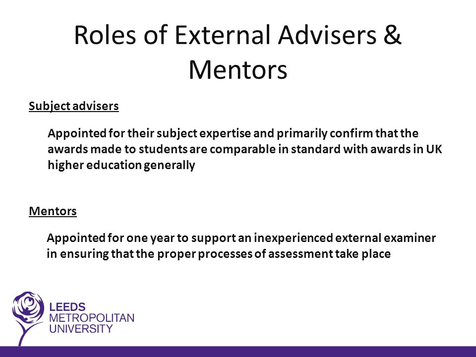 Rights & responsibilities of External Examiners (1) No recommendation for the conferment of an award above the level of Certificate of Higher Education can be made without the written consent of the external The external examiner must: be able to judge each student impartially confirm the standards for the awards are appropriate by referencing:  relevant national subject benchmark statements  framework for higher education qualifications  university approval documentation  any appropriate professional/statutory body requirements compare the performance of students