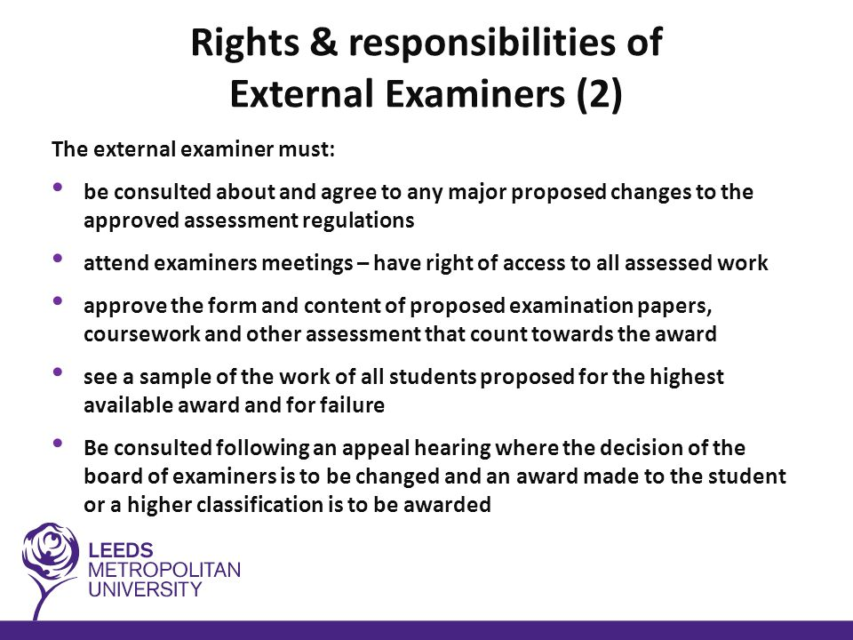 Outcome of Board of Examiners Decision codes – PA Pass Award – PP Pass Proceed – DE Deferred not allowed to proceed – DP Deferred – allowed to proceed (passed but may improve marks) – FW Fail withdraw (little evidence of engagement largely due to NS) – CP Components Pending – unable to progress to next level – FR Fail Repeat (failed less than or = 50% of level - repeat failed modules only) – FL Fail Level (more than 50% of modules failed – repeat the level) Final level only required to repeat failed modules
