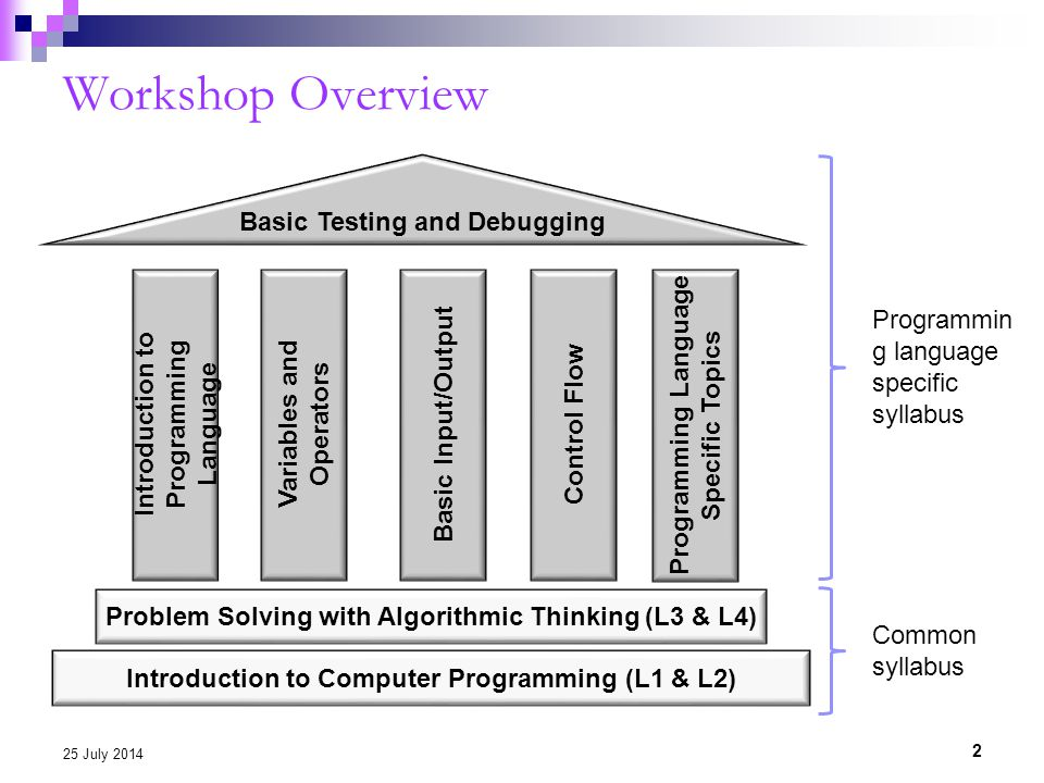 Workshop Overview 2 25 July 2014 Introduction to Computer Programming (L1 & L2) Variables and Operators Basic Input/Output Control Flow Basic Testing and Debugging Problem Solving with Algorithmic Thinking (L3 & L4) Introduction to Programming Language Programming Language Specific Topics Programmin g language specific syllabus Common syllabus
