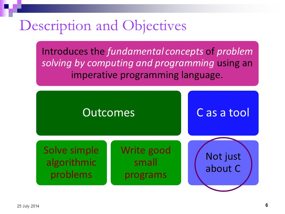 Description and Objectives 6 25 July 2014 Introduces the fundamental concepts of problem solving by computing and programming using an imperative programming language.