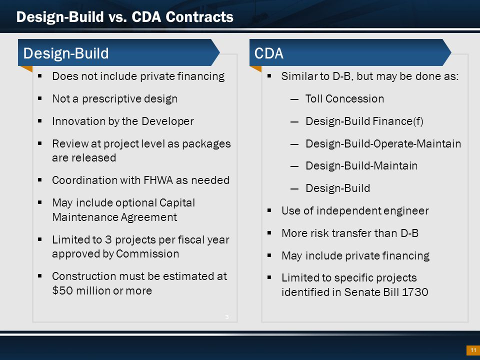  Does not include private financing  Not a prescriptive design  Innovation by the Developer  Review at project level as packages are released  Coordination with FHWA as needed  May include optional Capital Maintenance Agreement  Limited to 3 projects per fiscal year approved by Commission  Construction must be estimated at $50 million or more Design-Build vs.