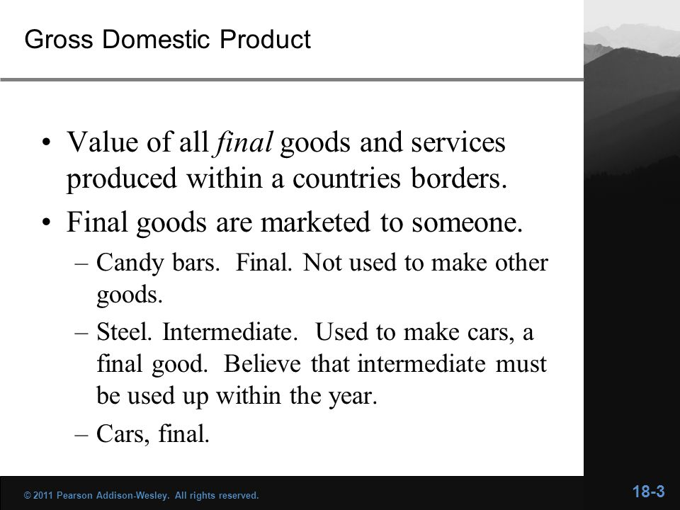 Gross Domestic Product Value of all final goods and services produced within a countries borders.