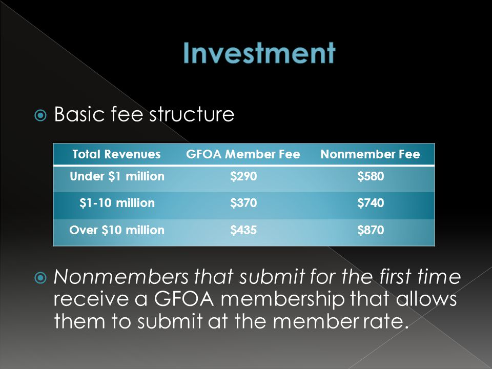  Basic fee structure  Nonmembers that submit for the first time receive a GFOA membership that allows them to submit at the member rate.