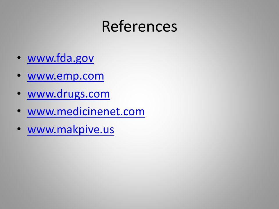 References www.fda.gov www.emp.com www.drugs.com www.medicinenet.com www.makpive.us