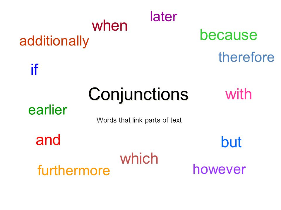 Conjunctions and but because when which with if Words that link parts of text therefore however furthermore additionally later earlier